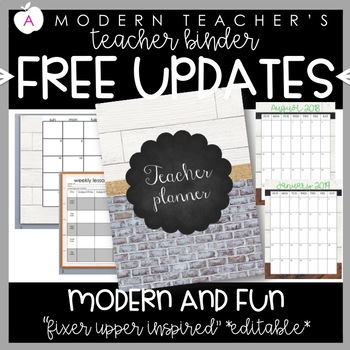 Teacher Binder and Planner Editable Free Updates Industrial Chic