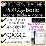 Teacher Binder and Planner Editable (PRETTY BASIC)