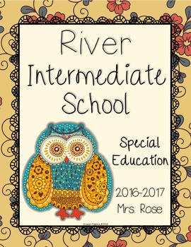 Teacher Binder covers vintage owl and flower theme (Editab