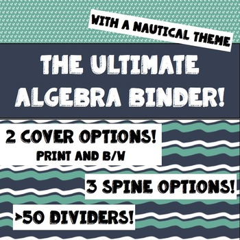 Teacher Binder for Algebra with Nautical Theme