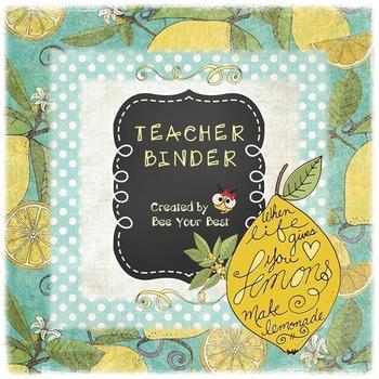 Teacher Binder in SHABBY CHIC LEMON YELLOW