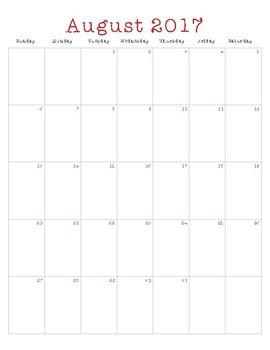 Teacher Calendar Printable (2016-2017)