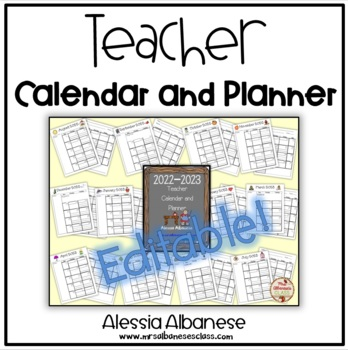 Teacher Calendar and Planner updated for 2016-2017 - EDITABLE!
