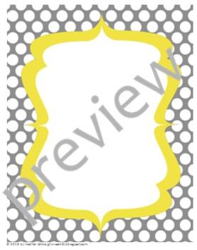Teacher Chic Frames: Yellow & Grey
