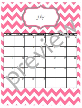 Teacher Chic SY 2015-2016 Calendar: Pink and Grey