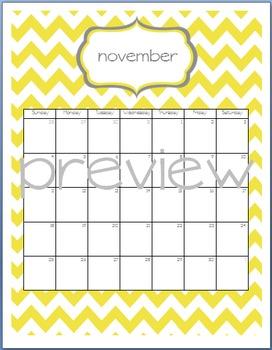 Teacher Chic SY 2015-2016 Calendar: Yellow and Grey