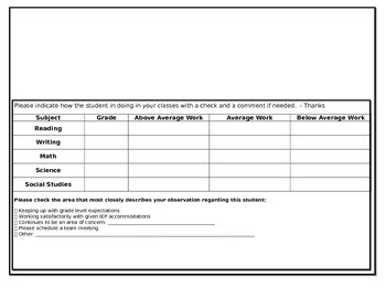 Teacher Communication Log