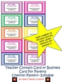 Teacher Contact Cards or Business Cards For Parents- Chevr