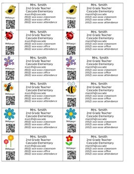 Teacher Contact Magnets or Business Cards (editable)
