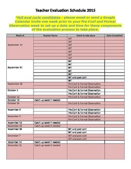 Teacher Evaluation Schedule
