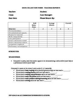 Teacher Feedback form