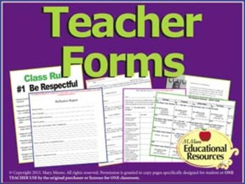 Teacher Forms - Includes Peer Eval Rubric and Teacher Welc