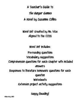 Teacher Guide for the Hunger Games (CCSS aligned)