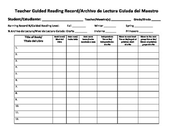 Teacher Guided Reading Record Bilingual Spanish-English
