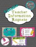 Teacher Information Magnets **Editable