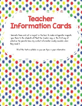 Teacher Information/Business Cards Primary Colors