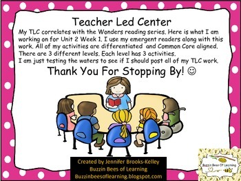 Teacher Led Center Work for Unit 2 Week 1 & 2 (-ap words a