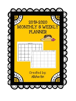 Monthly and Weekly Teacher Calendar Planner 2016-17 (Editable)