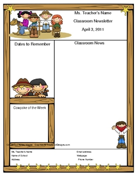 Teacher Newsletter Template - Western Cowboy Theme by Mrs Magee ...