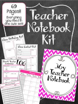 Teacher Notebook. Planner Pink & Grey. Binder. Arc. Lesson