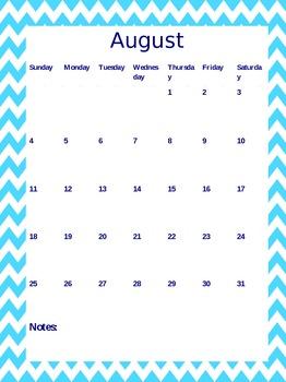Calendar - Light Blue Chevron
