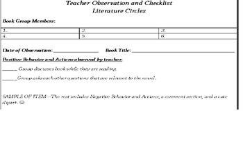 Teacher Observation and Checklist for Literature Circles