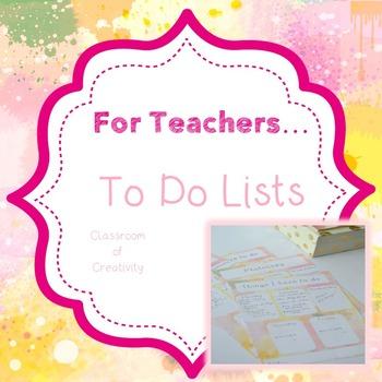Teacher Organisation - To Do Lists