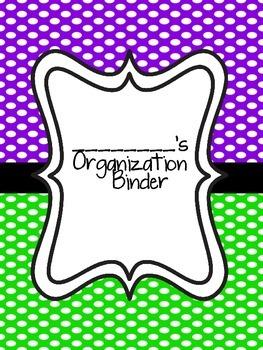 Teacher Organization Binder- Purple and Green