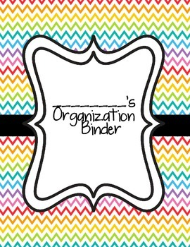 Teacher Organization Binder- Rainbow Chevron