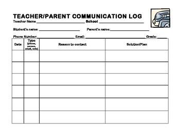 Teacher-Parent Communication Log Bilingual Spanish-English