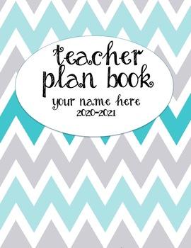 Teacher Plan Book 2016-2017 in Teal and Grey Chevron Theme