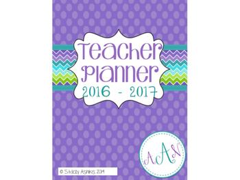 Teacher Planner: 2016-2017 Purple and Teal Chevron Style