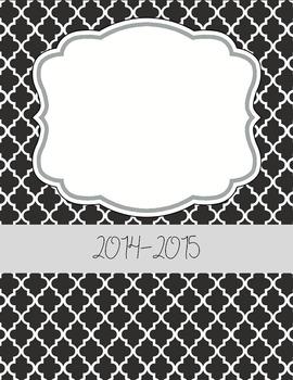 Teacher Planner 2014-2015 in Black & White {editable}