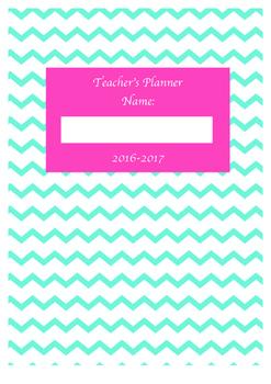 Teacher Planner 2016-2017 Blue chevron/ pink