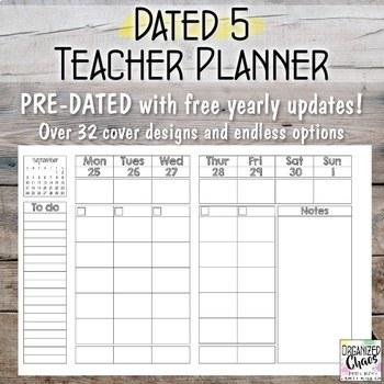 Teacher Planner / Binder: five lesson blocks edition