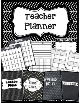 Teacher Planner- Black & White