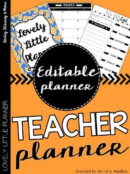Teacher Planner: Blue Orange (Editable)