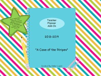 Teacher Planner Calendar Add-On: A Case of the Stripes