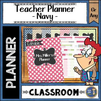 Teacher Planner Binder {Color: Navy, Pink, Green}