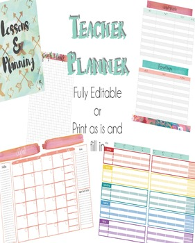 "EDITABLE Teacher Planner - Day/School Planner - ""Color Me"