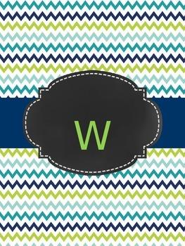 Teacher Planner: Navy, blue, lime green