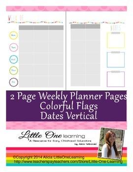 Teacher Planner- Planning Template Flags