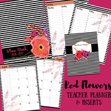Teacher Binder / Planner: Red Flowers