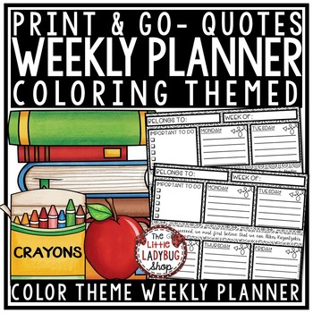 Teacher Planner • Student Planner • Coloring Theme