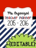 Teacher Binder- YEARLY UPDATES - EDITABLE - Navy and Red