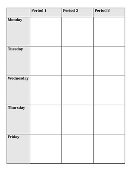 Teacher Planner - vertical week