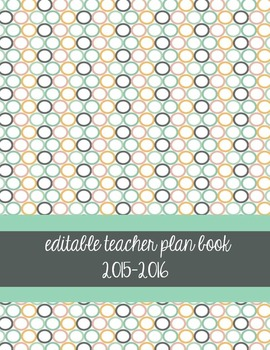 Teacher Planner/Plan Book FULLY EDITABLE - Beach Days Colo