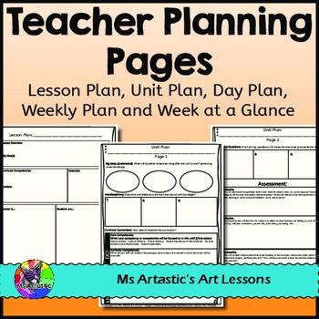 FREE Teacher Planning Pages - Unit Plan, Lesson Plan, Week