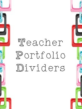 Teacher Portfolio Dividers
