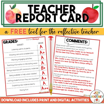 FREE End of the Year Teacher Report Card